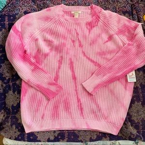 NWT PINK TIE DYE RIBBED COTTON SWEATER LIMITED ED